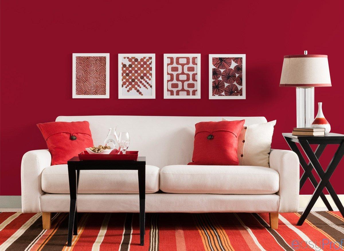 soggiorno pareti rosse - Imbianchino Milano: tinteggiature, stucco ...