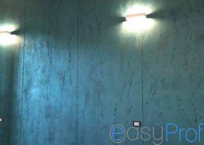 Paderno Dugnano: Istinto Pietra Spaccata azzurro parete camera matrimoniale